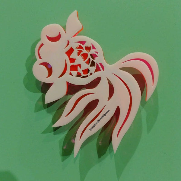 Lucent Lotus-Fish Acrylic Brooch
