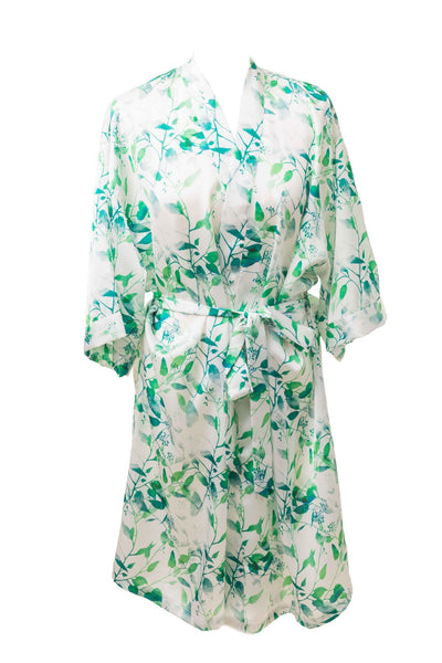 Sage Floral Watercolour Flower Girl Dressing Gown