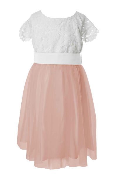 Beautiful tailor made white flower girl dress with colour sash dusky pink mightylinksfo