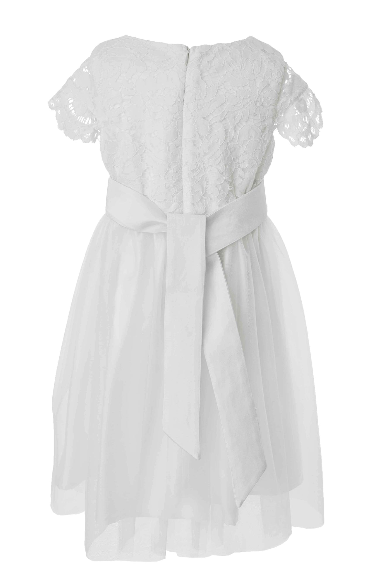 Beautiful Tailor Made White Flower Girl Dress With Colour Sash