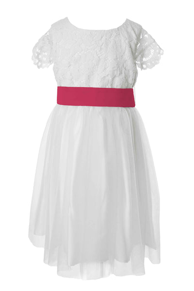 Beautiful tailor made white flower girl dress with colour sash bright pink mightylinksfo
