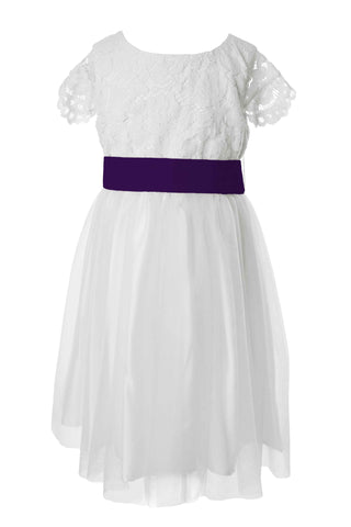 Deep purple tagged flower girl dresses matchimony white lace and tulle flower girl dress mightylinksfo