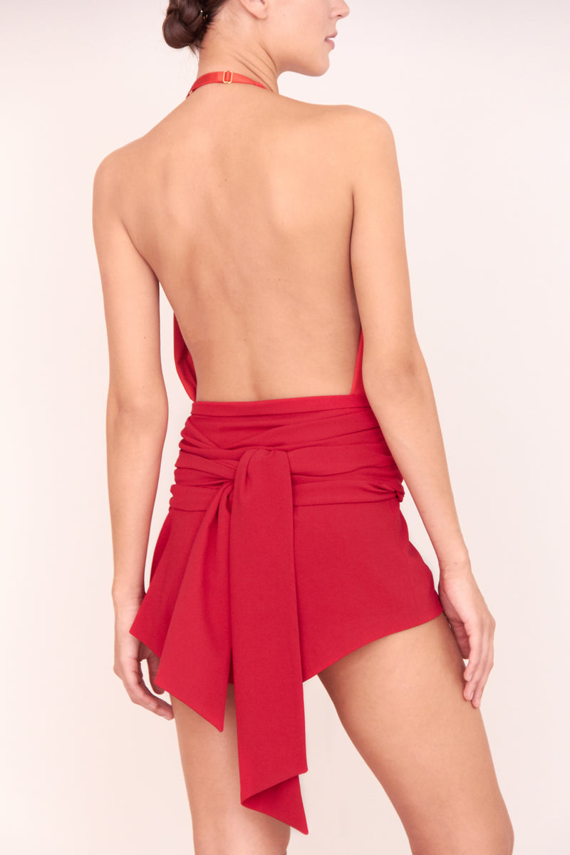 IMAN MINI SHORT WITH STRAPS CHERRYRED