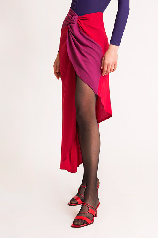 GRACE KNOT SKIRT RED & FUCHSIA