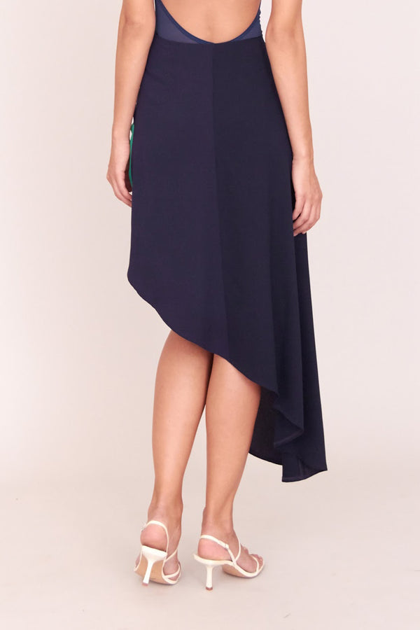 GRACE KNOT SKIRT NAVY BLUE & GREEN