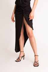 GRACE KNOT SKIRT BLACK