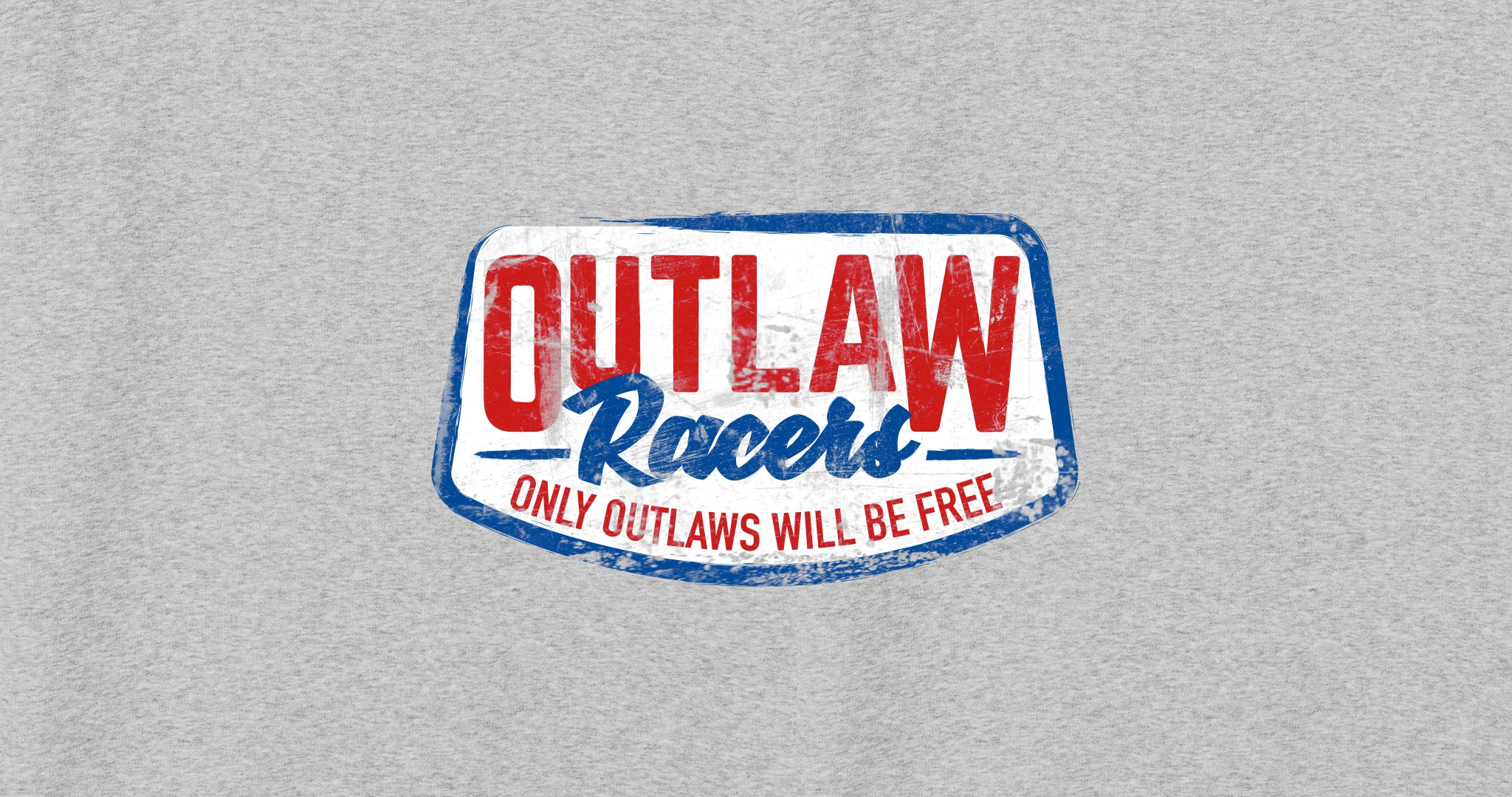 Outlaw Racers - Only Outlaws Will Be Free - design close-up on a grey marl background