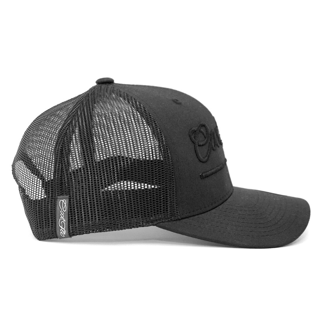 3D Script Black Treading Waves Trucker Cap - Cool Flo