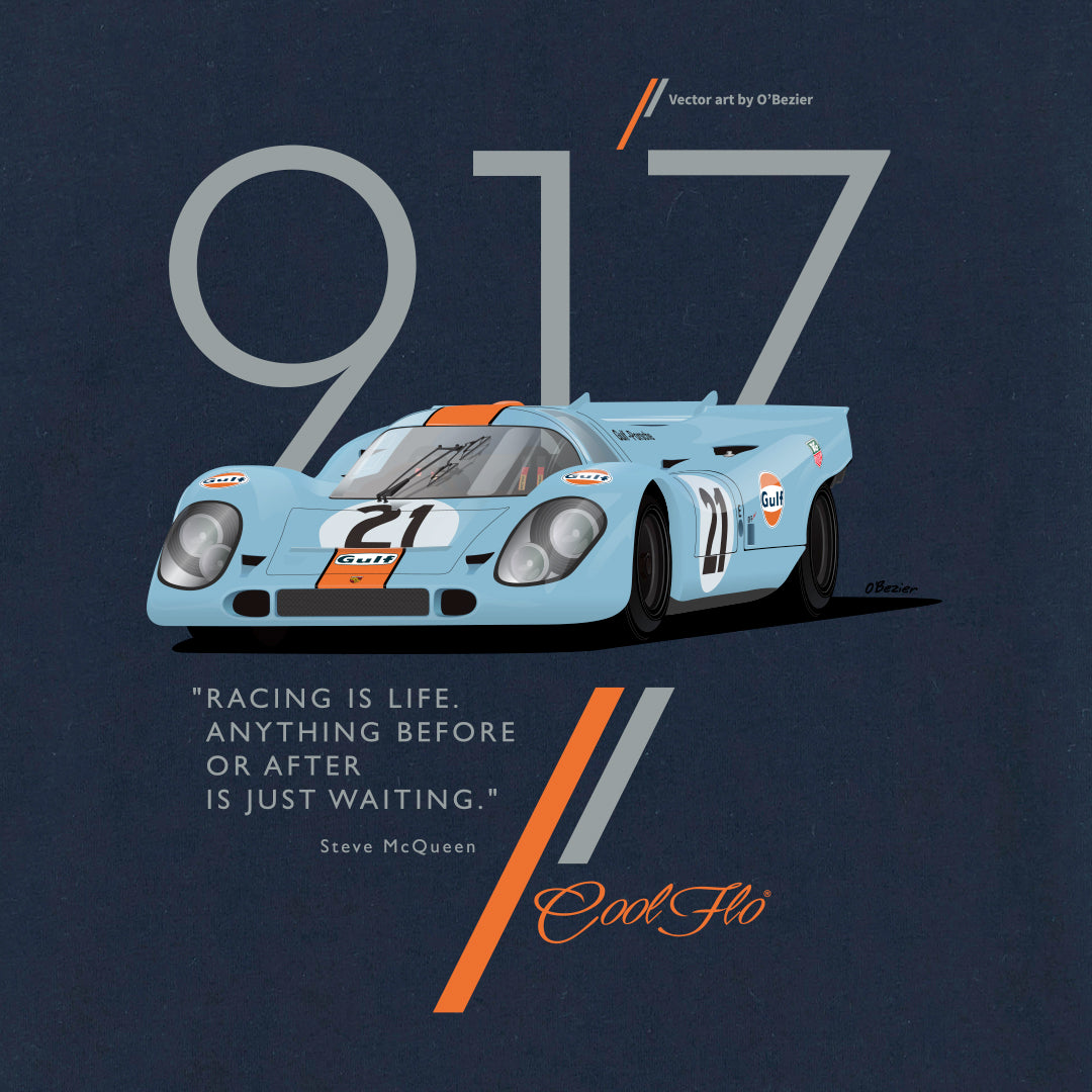 Cool Flo Porsche 917 Navy long-sleeve t-shirt - close-up