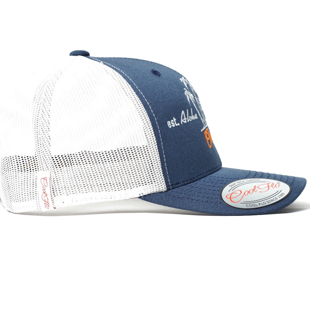 Outlaw bus two-tone trucker cap - side view - Cool Flo