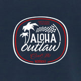 Aloha Outlaw blue t-shirt close-up -Cool Flo