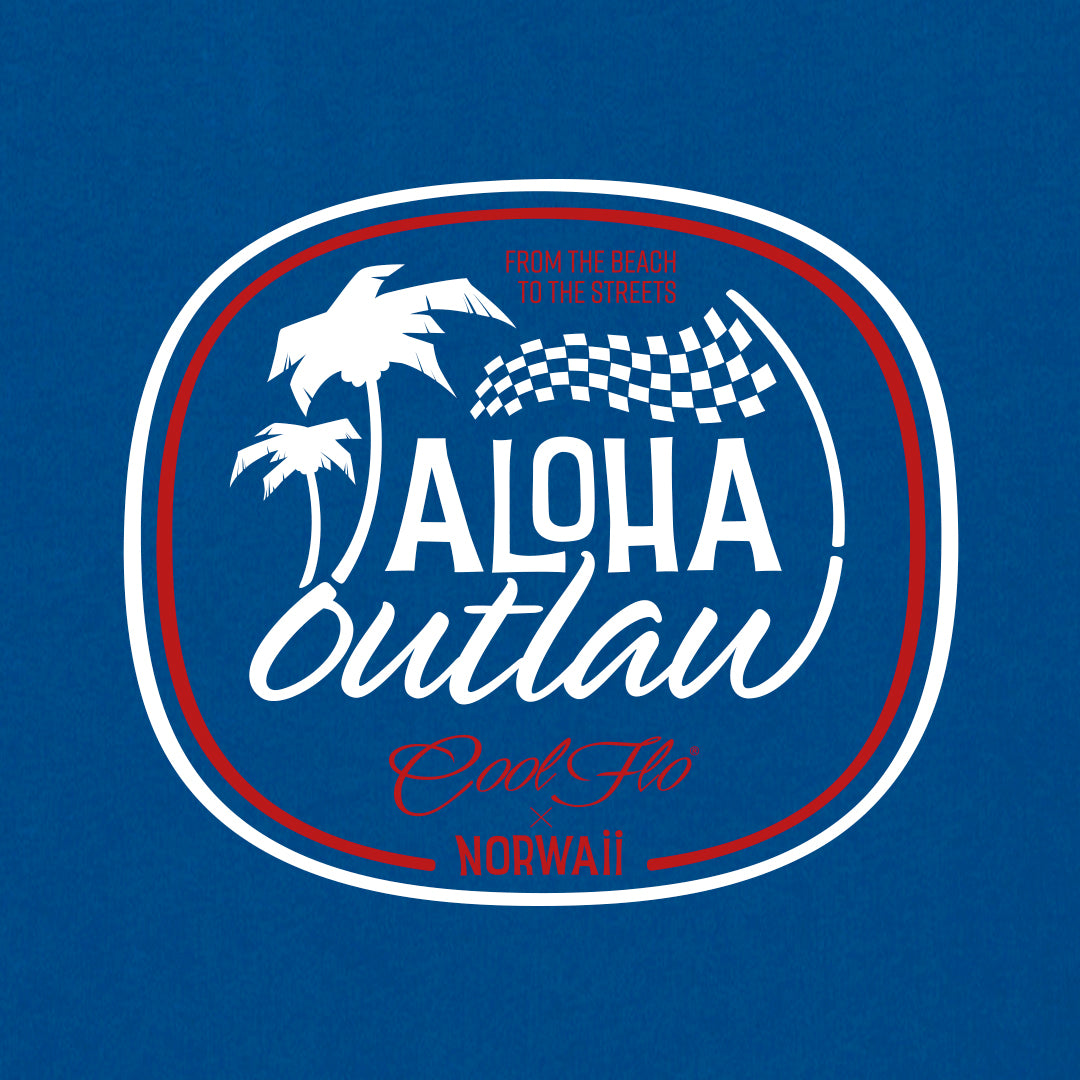 Aloha Outlaw majorelle blue hoody close-up