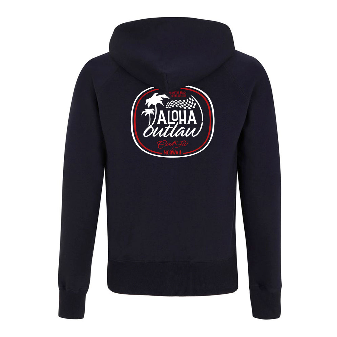 Aloha Outlaw Navy zip hoody - back - Cool Flo