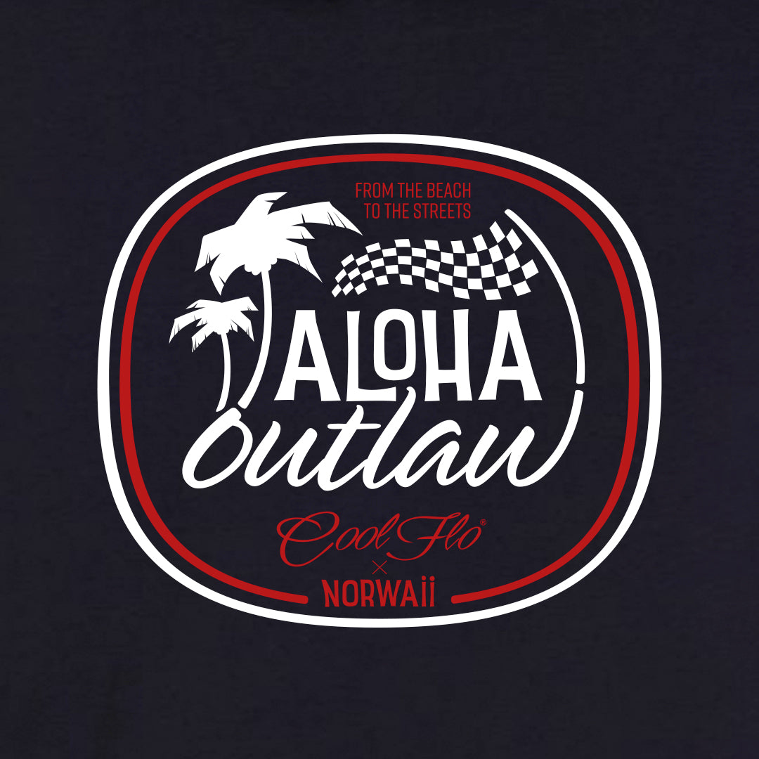 Aloha Outlaw Navy zip hoody - close-up - Cool Flo
