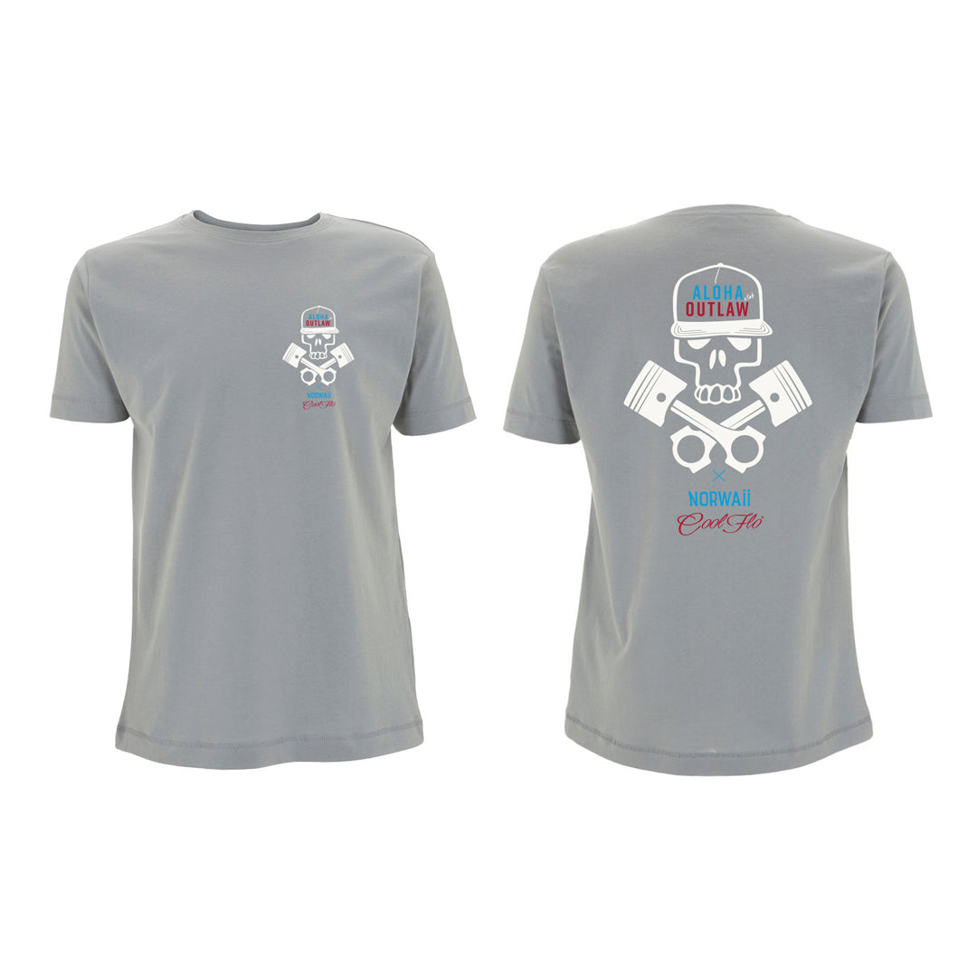 Skull & Pistons Sport Grey tee front&back - Cool Flo