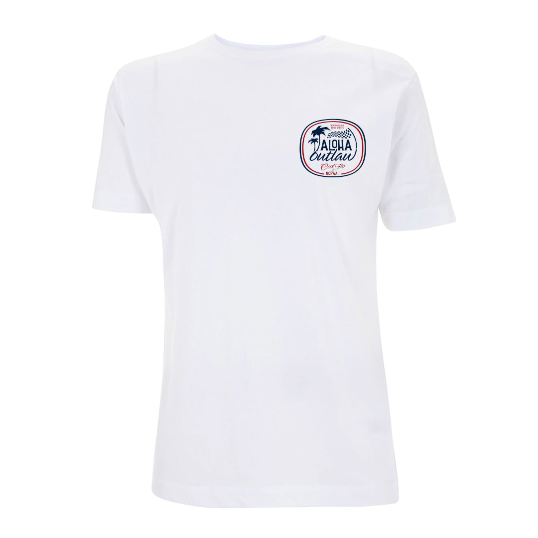 Aloha Outlaw White T-shirt front - Cool Flo