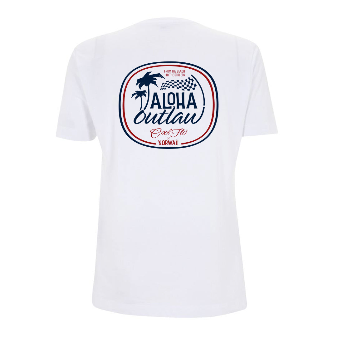 Aloha Outlaw White T-shirt back - Cool Flo