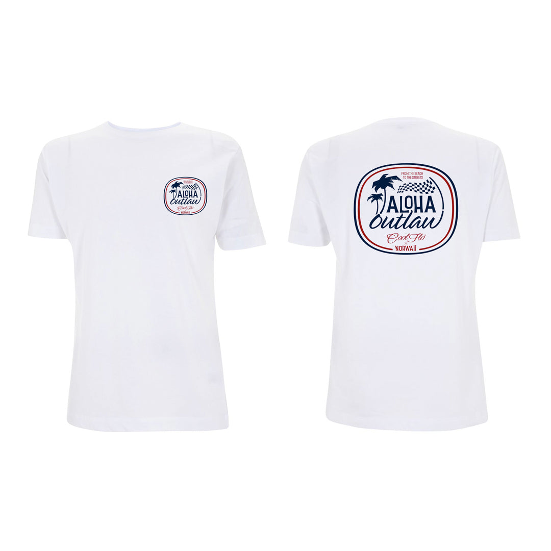 Aloha Outlaw White T-shirt front&back - Cool Flo