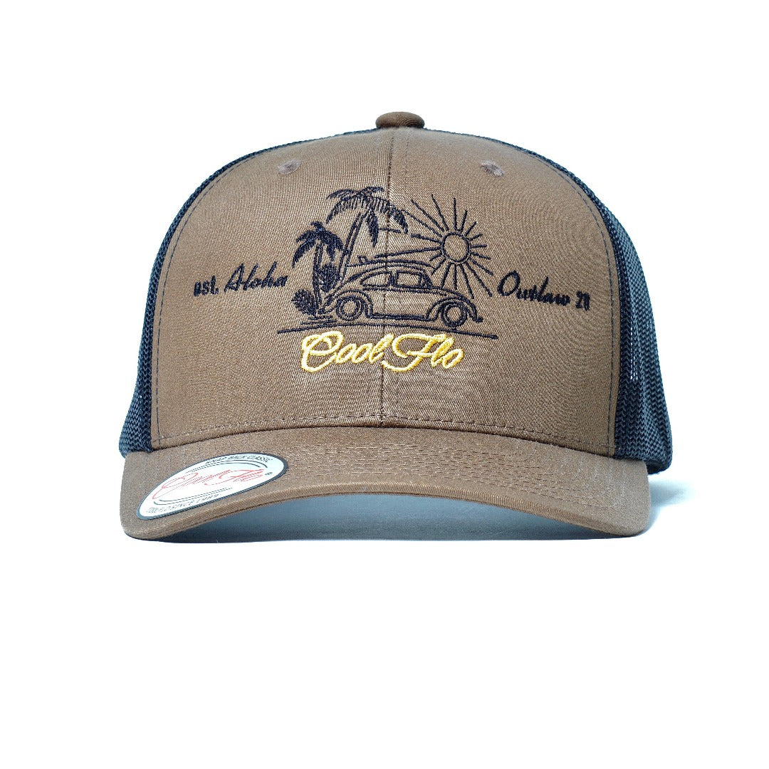 Aloha Outlaw Bug two-tone trucker cap - VW bug and palm tree design