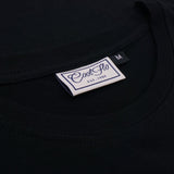 Worldwide Shipping black long-sleeve t-shirt neck label