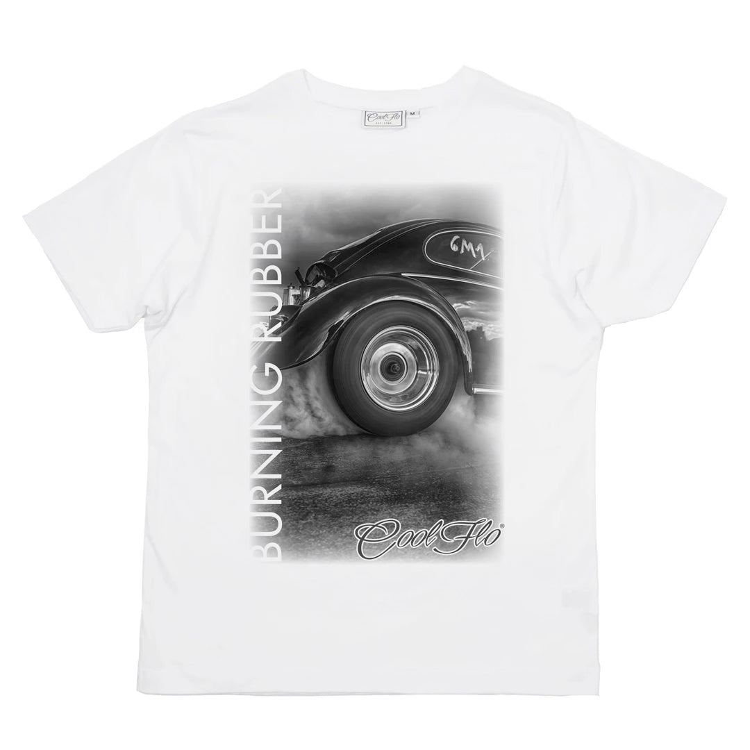 Cool Flo Burning Rubber t-shirt in white