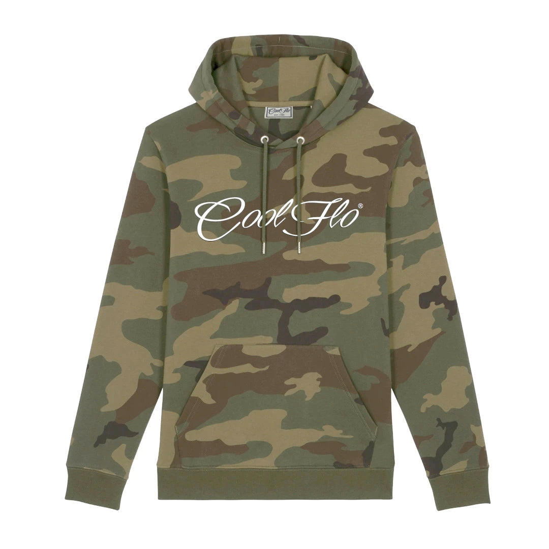 Cool Flo Camo hoody with white script logo across chest