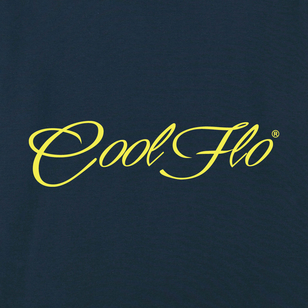 Classic Script Navy sweatshirt - yellow - close-up - Cool Flo