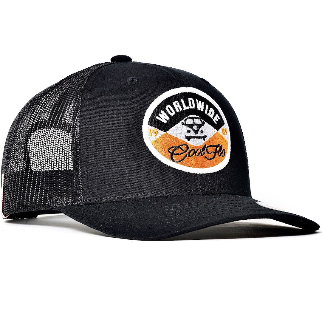 Cool Flo Worldwide Black Trucker Cap with embroidered badge design