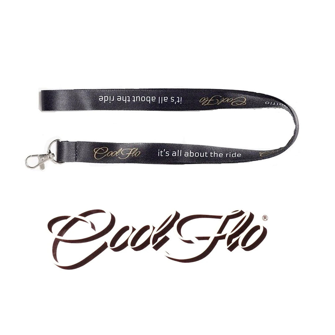 "Cool Flo black, white and gold lanyard and 8"" Script logo sticker."