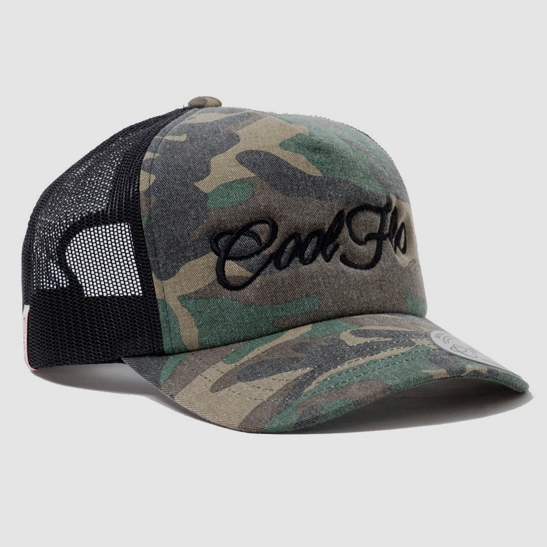 Camo Black Script Trucker Cap - Cool Flo