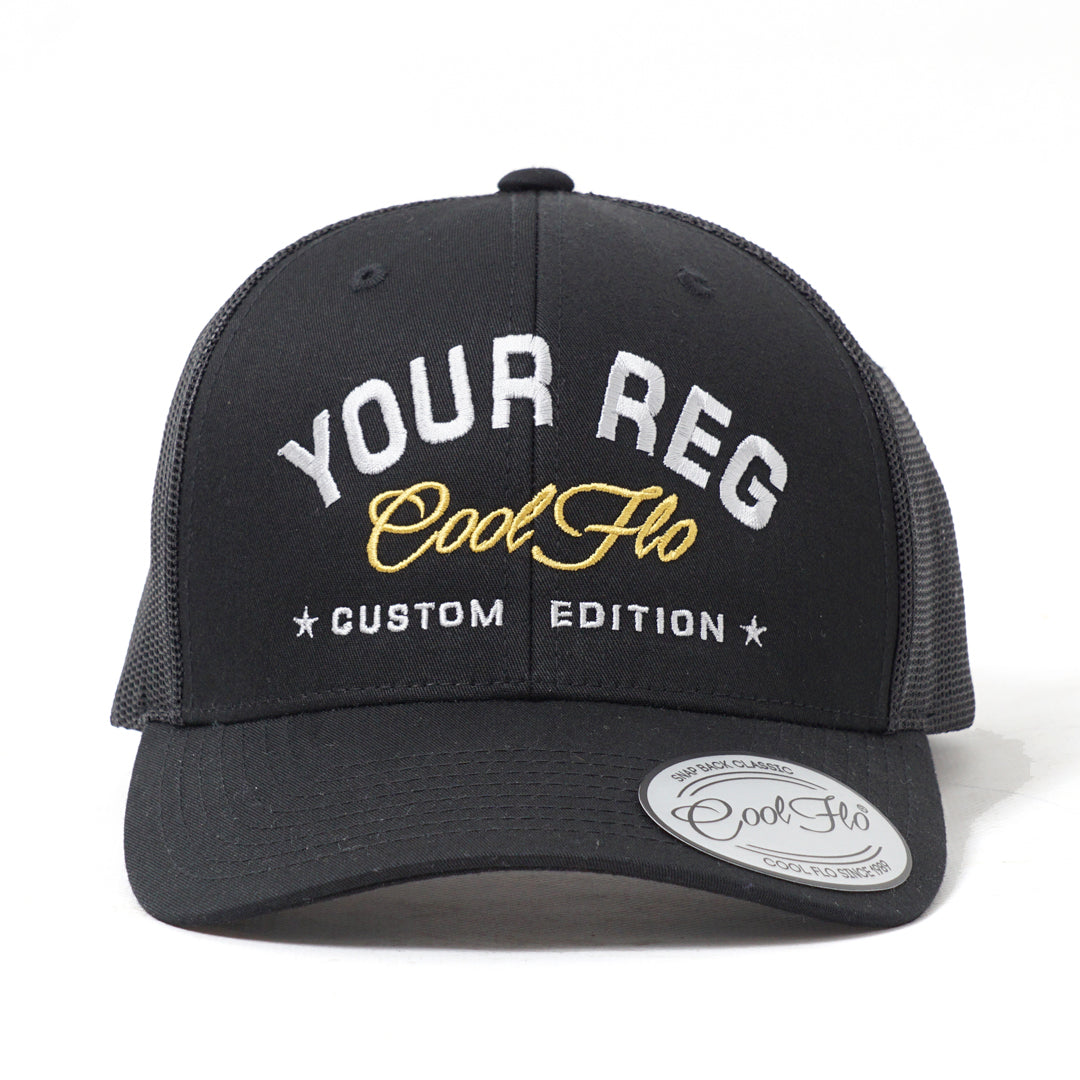 CUSTOM EDITION Reg. Trucker Cap in black - Cool Flo
