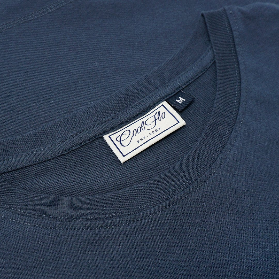 Worldwide Shipping Denim Blue t-shirt neck label