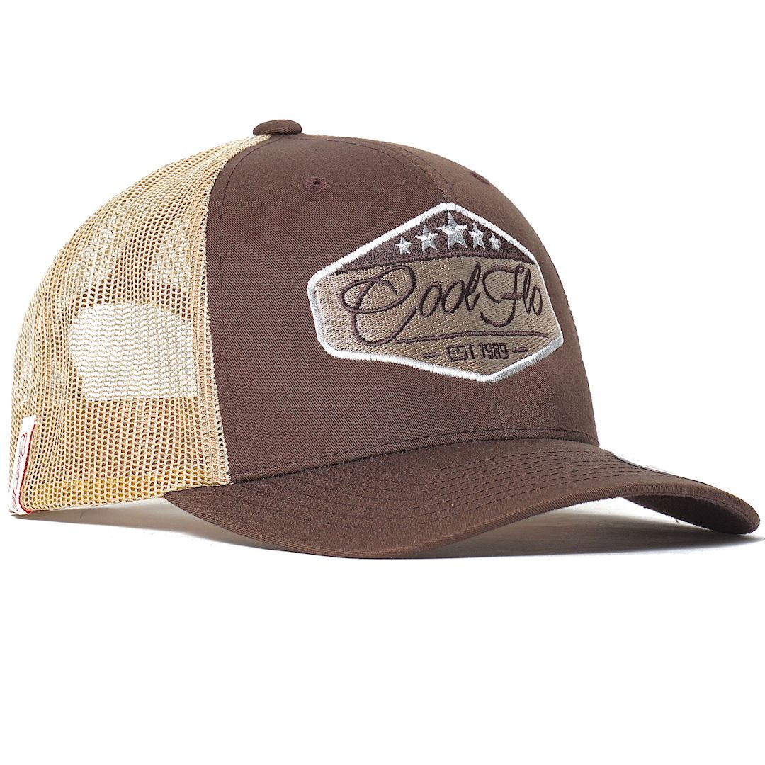 Five Star Brown and Khaki Cool Flo Trucker cap with embroidered badge design