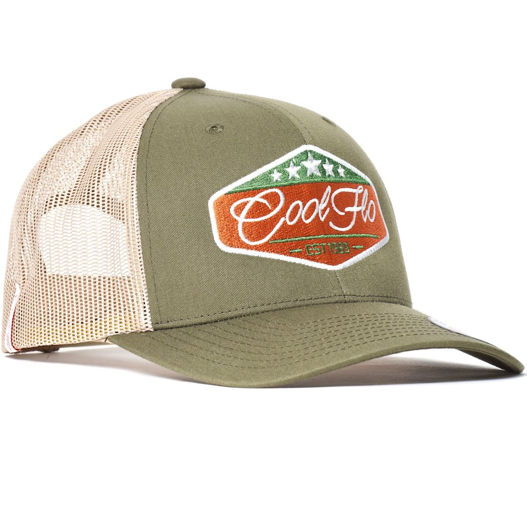 Five Star Green and Khaki Cool Flo Trucker cap with embroidered badge design
