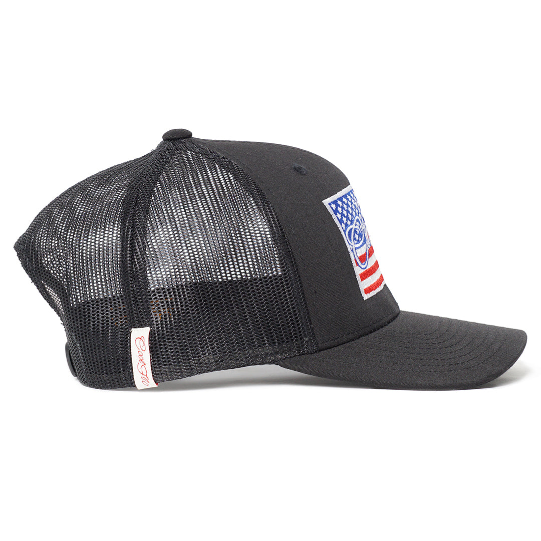 Global Flo USA Black Trucker Cap - Cool Flo