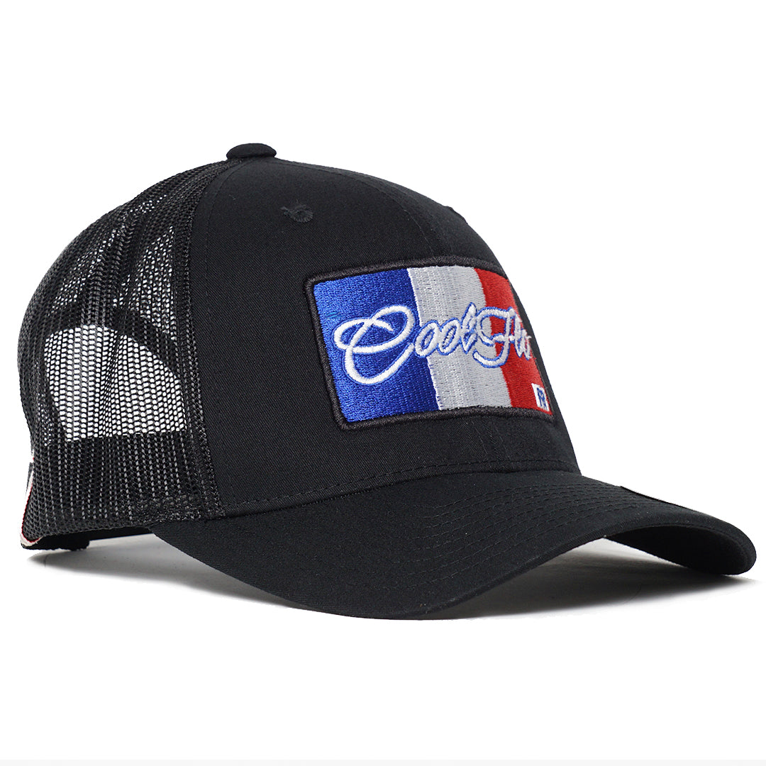 Black Cool Flo trucker cap with French flag embroidered design.