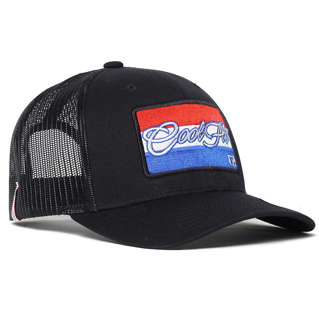 Black Cool Flo trucker cap with The Netherlands flag embroidered design.