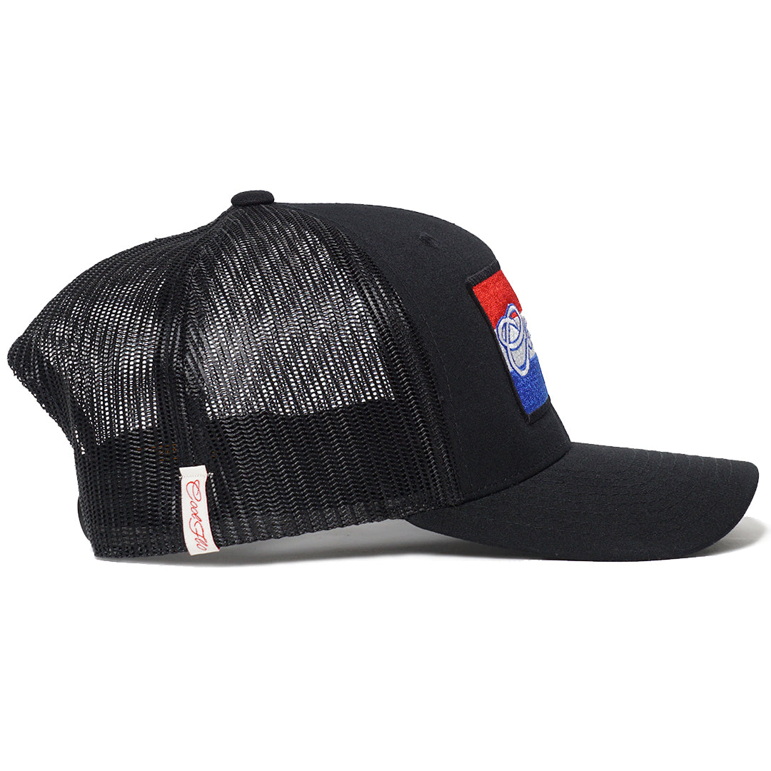 Side view of Black Cool Flo trucker cap with The Netherlands flag embroidered desig