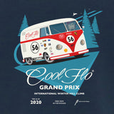 Grand Prix denim blue t-shirt close-up