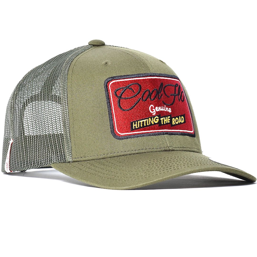 Hitting the Road Green embroidered Cool Flo trucker cap