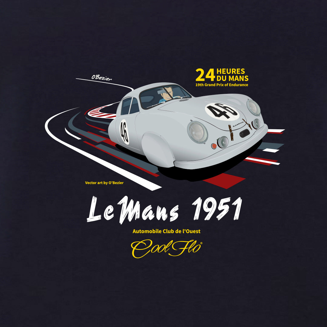 Le Mans navy blue t-shirt close-up - Cool Flo
