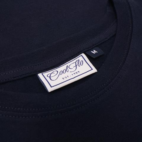 Flo Cat Navy t-shirt neck label