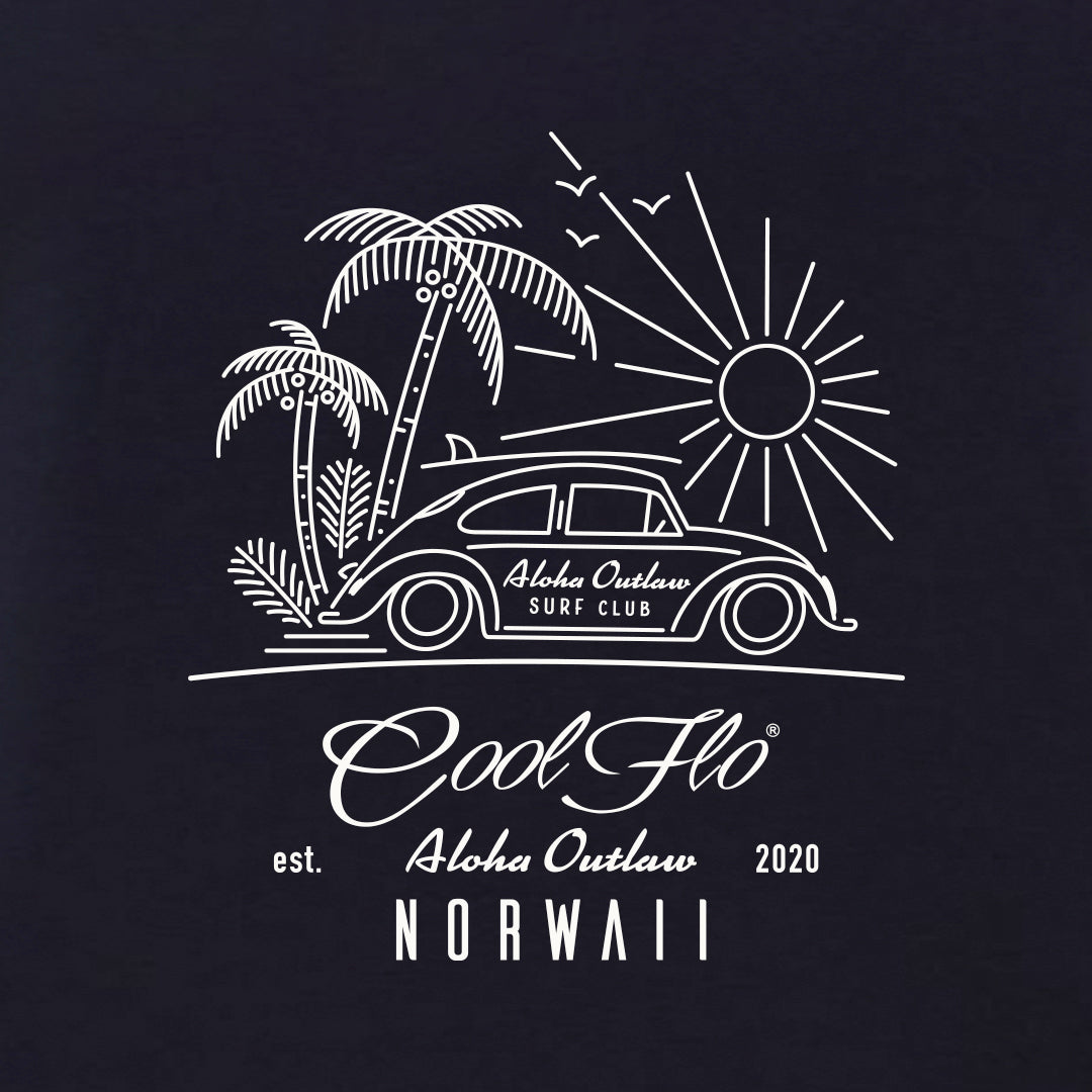Outlaw Bug Navy t-shirt close-up - Cool Flo