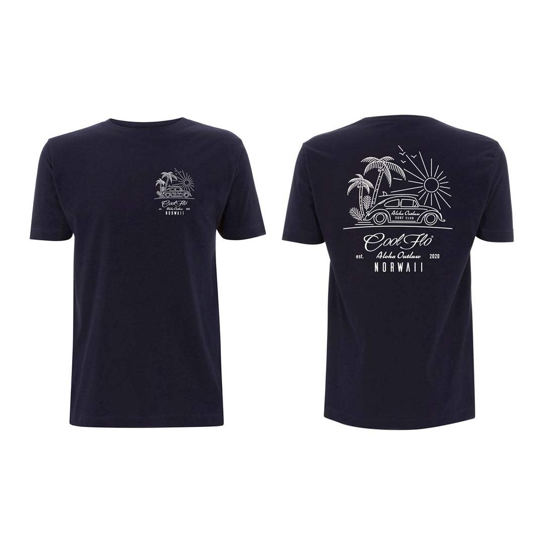 Outlaw Bug Navy t-shirt front&back - Cool Flo