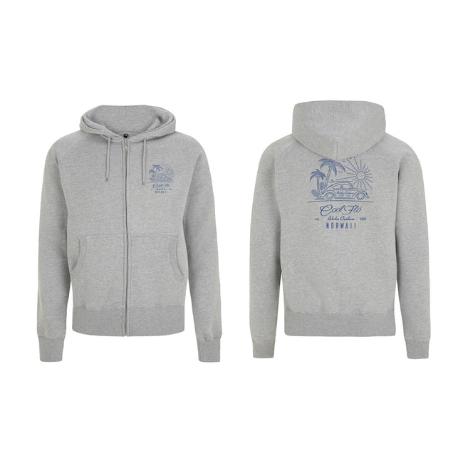 Outlaw Bug grey zip hoody - front & back - Cool Flo