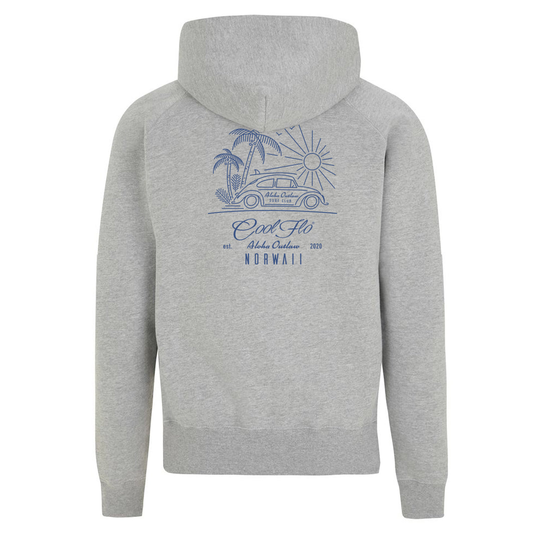 Outlaw Bug grey zip hoody - back - Cool Flo