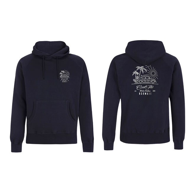 Outlaw Bug Navy hoody - front & back - Cool Flo