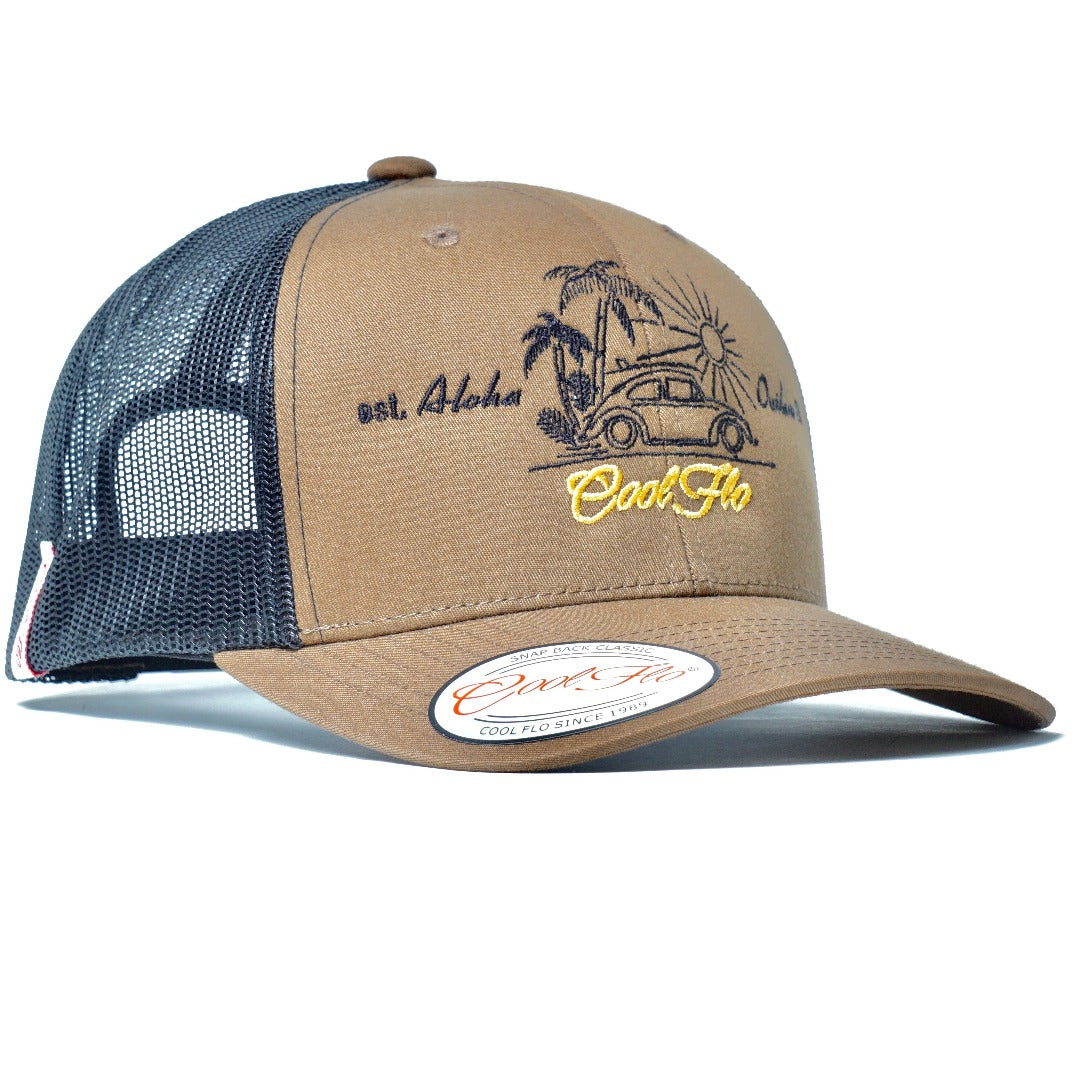 Aloha Outlaw Bug two-tone trucker cap - VW beetle and palm tree design
