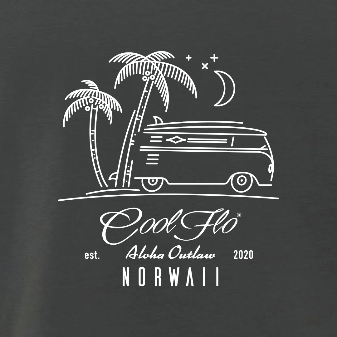 Outlaw Bus charcoal t-shirt close-up - Cool Flo