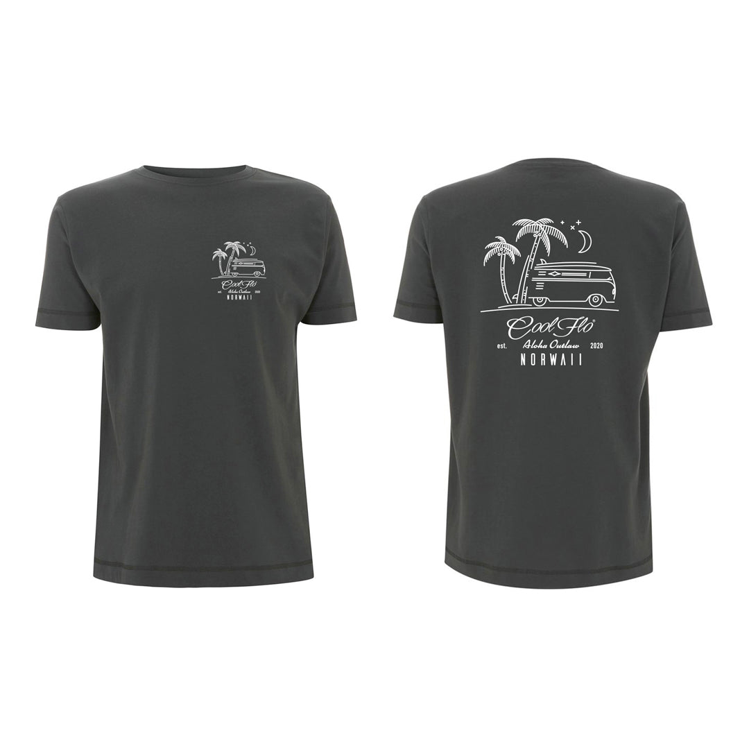 Outlaw Bus charcoal t-shirt front&back - Cool Flo